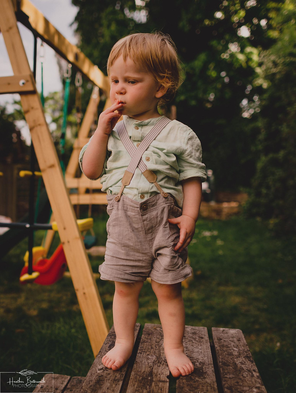 Son in the garden taken by Heather Butterworth during the COVID-19 pandemic in Leeds Yorkshire in May 2020
