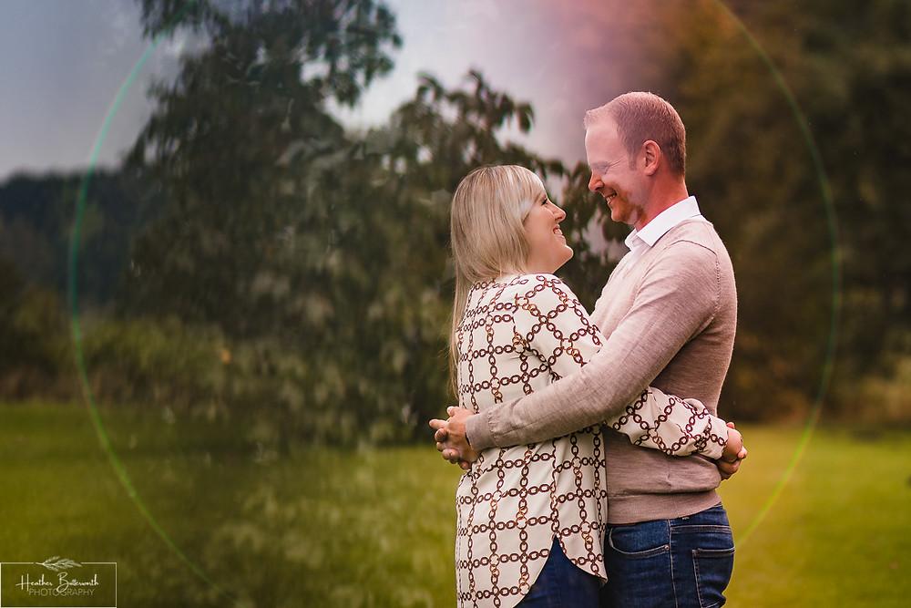 golden acre park Leeds wedding photographer engagement shoot lens flare