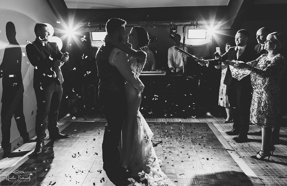couple having their first dance at the burnside hotel and spa in the lake district in february 2020