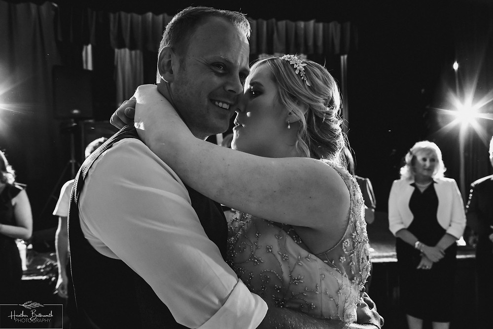 leeds wedding photographer Yorkshire reception alwoodley community hall first dance black and white