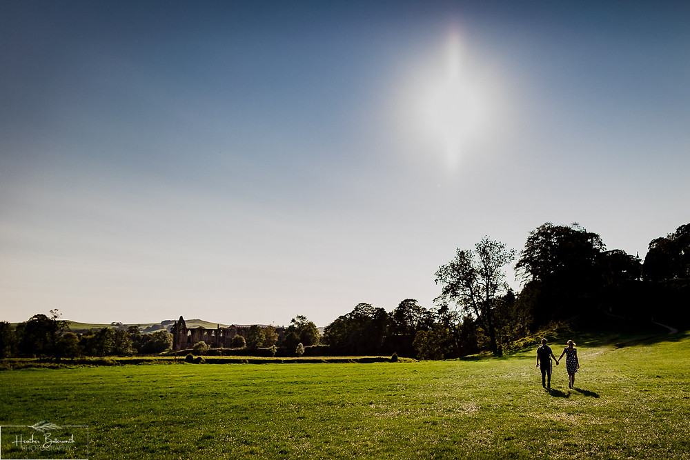 Engagement shoot photography at Bolton Abbey in Yorkshire in September 2020