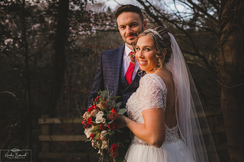 Bride and groom together after their wedding at The Woodman Inn in Thunderbridge, Yorkshire