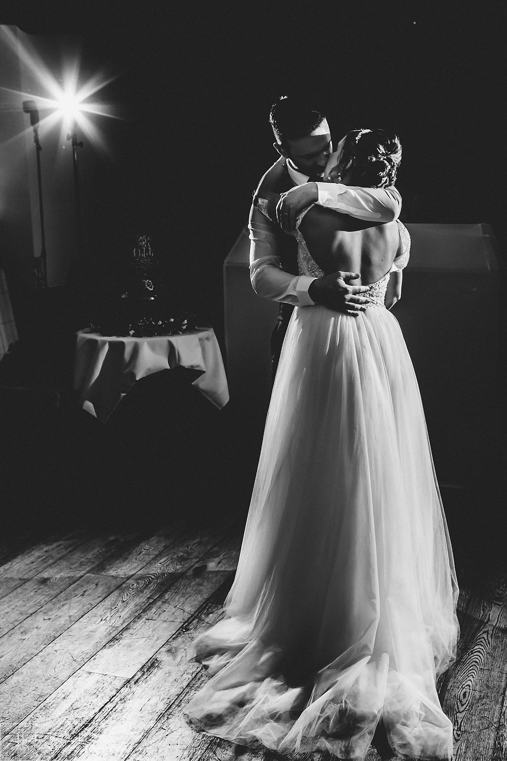 Bride and groom during their first dance after their wedding at The Woodman Inn in Thunderbridge near Leeds, Yorkshire