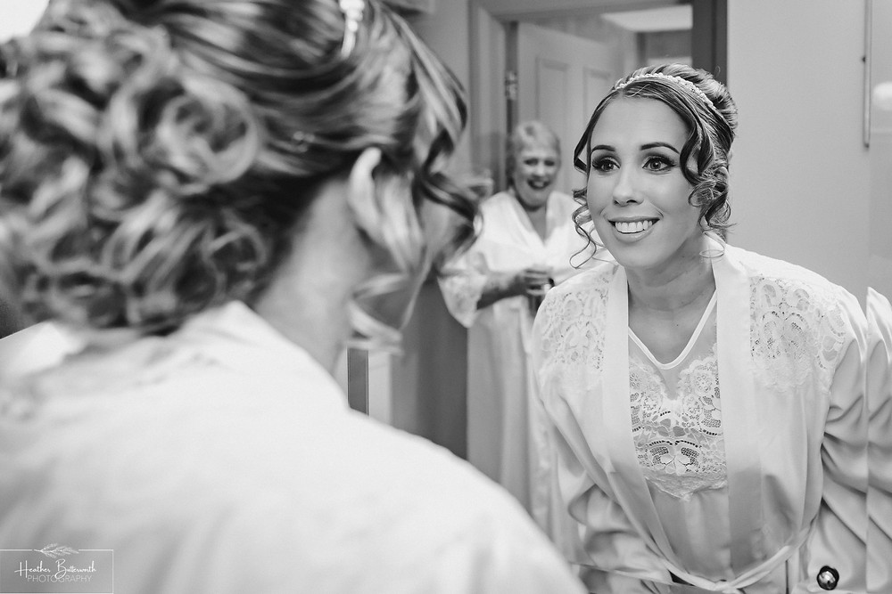 bridal preparation with mother of the bride before the wedding at the woodman inn Yorkshire leeds photographer