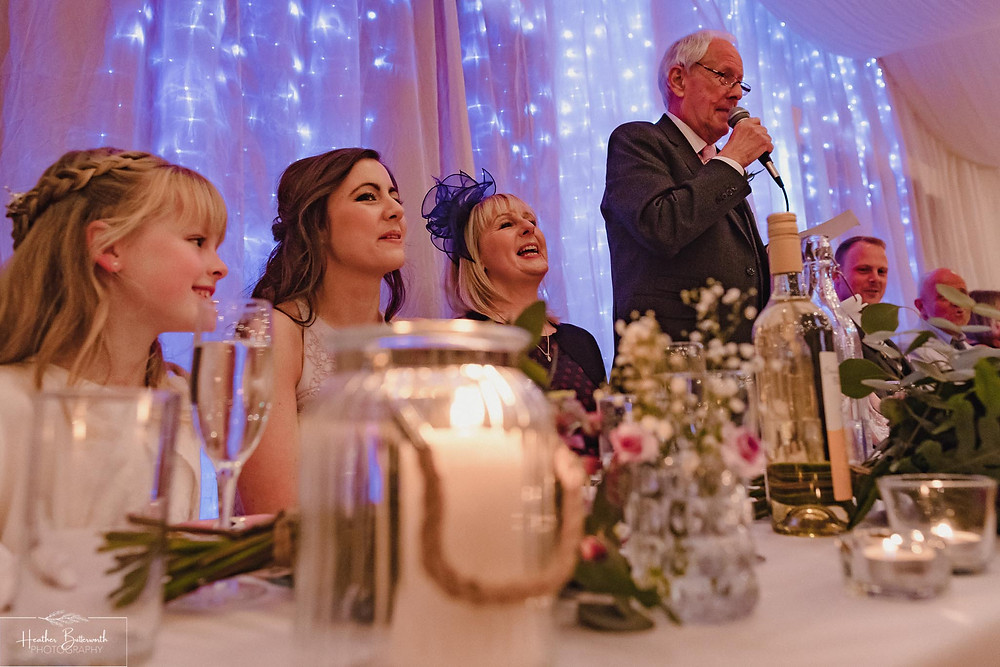 leeds wedding photographer Yorkshire reception alwoodley community hall speeches father of the bride