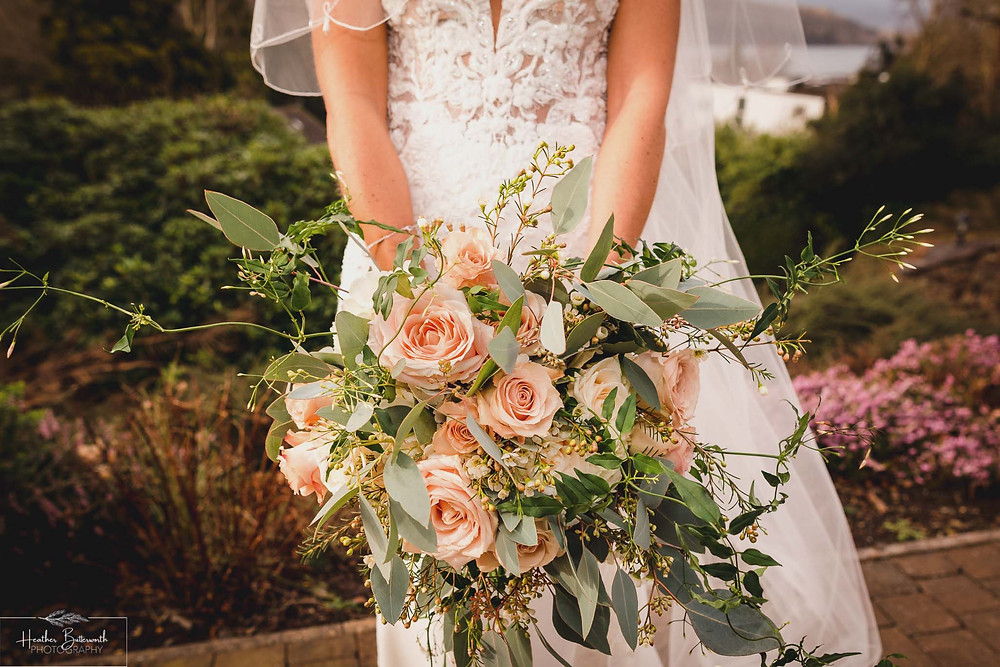 Bride Bex's bouquet at The Burnside Hotel and Spa in Bowness-on-Windermere