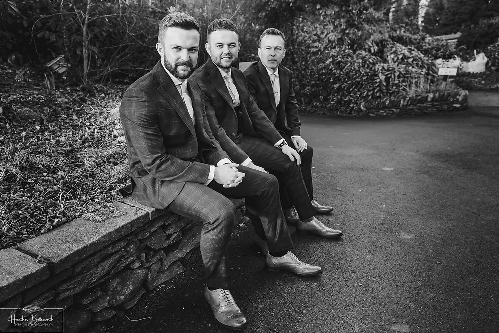 Andy the groom and his dad and brother during groom preparations at The Burnside Hotel and Spa in Bowness-on-Windermere