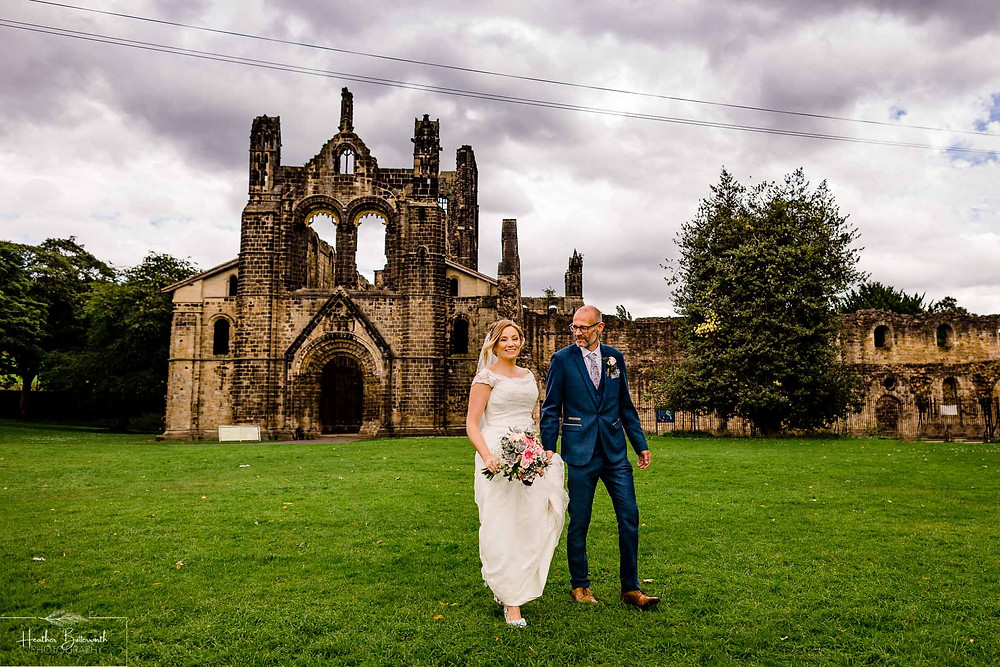 Bride and groom at Kirkstall Abbey after their Leeds West Yorkshire wedding in august 2020