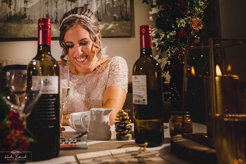 brides reaction to groom speech happy at the woodman inn Yorkshire