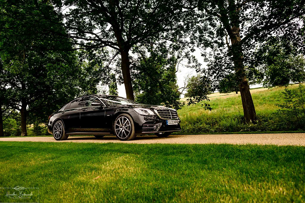 A Mercedes S-Class outside Grantley Hall, Yorkshire in July 2020