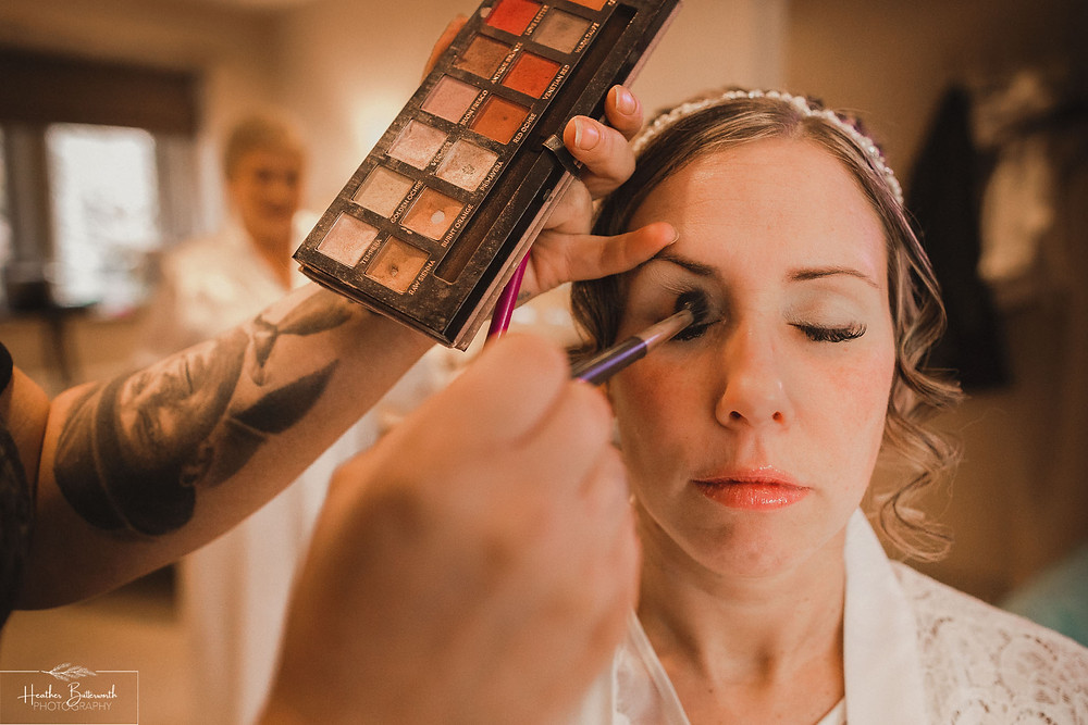 bridal preparation and make up before the wedding at the woodman inn Yorkshire Leeds photography