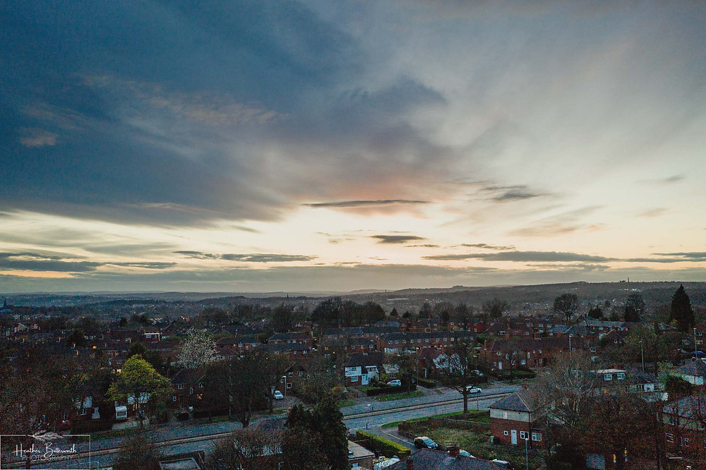 Sunset over North Leeds from a drone