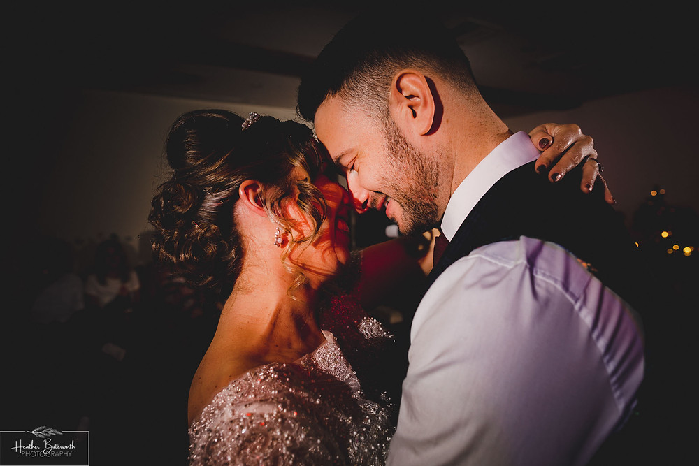 bride and grooms first dance at the woodman in in Yorkshire UK