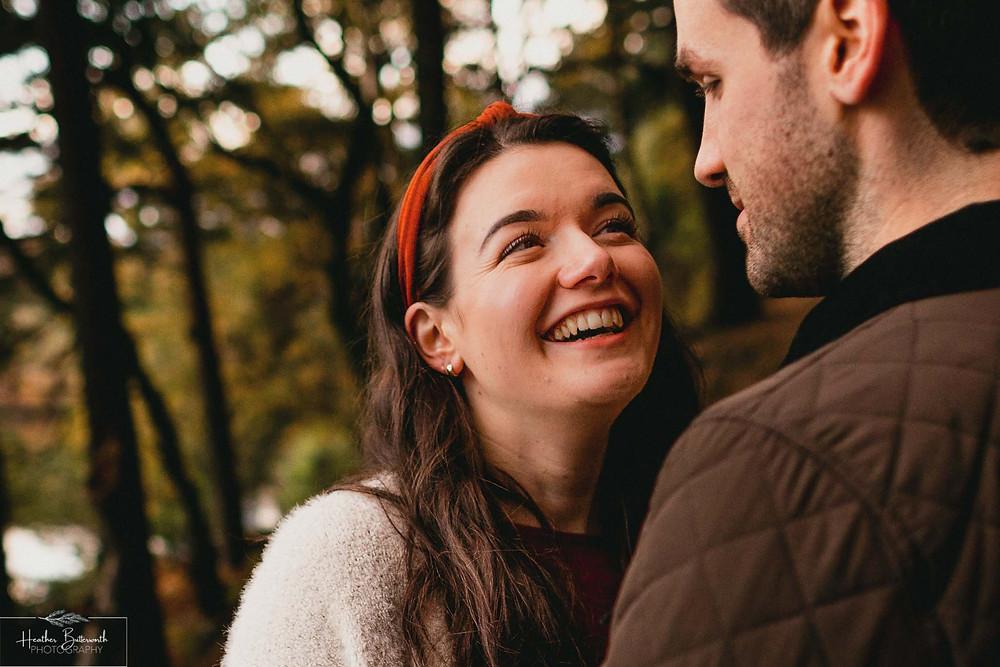 Engagement photographs at Langsett Reservoir in Yorkshire in October 2020