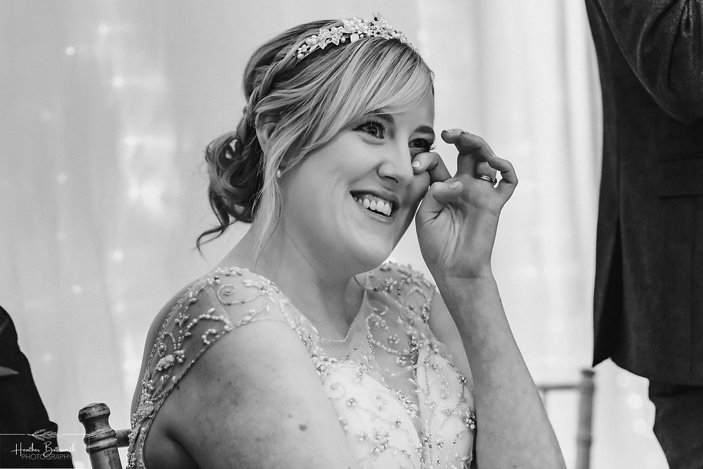 leeds wedding photographer Yorkshire reception alwoodley community hall emotion bride emotional