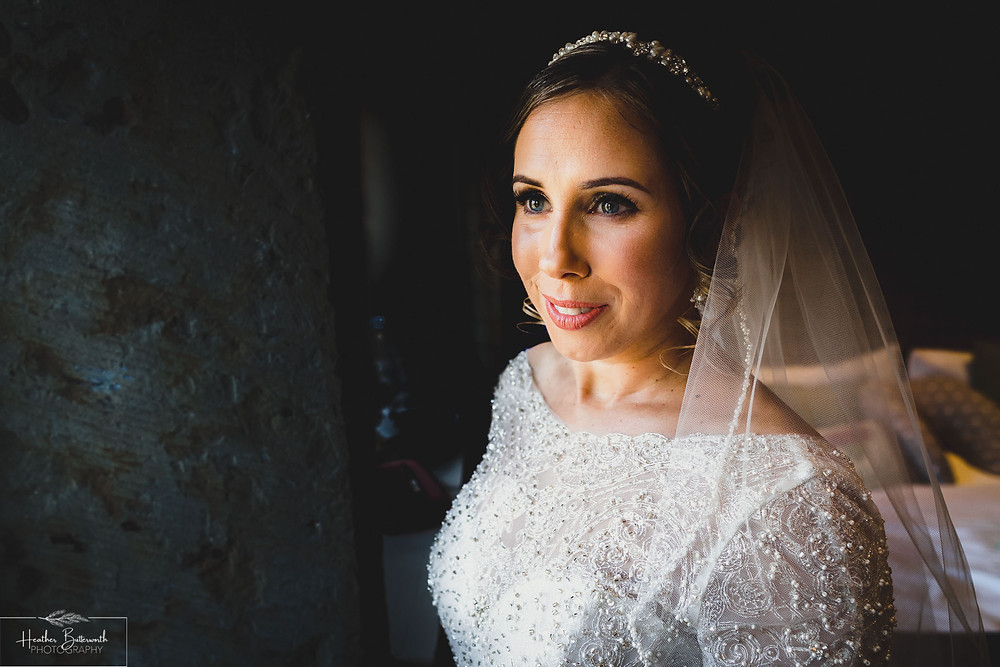 bridal preparation bride portrait before the wedding at the woodman inn Yorkshire leeds photographer