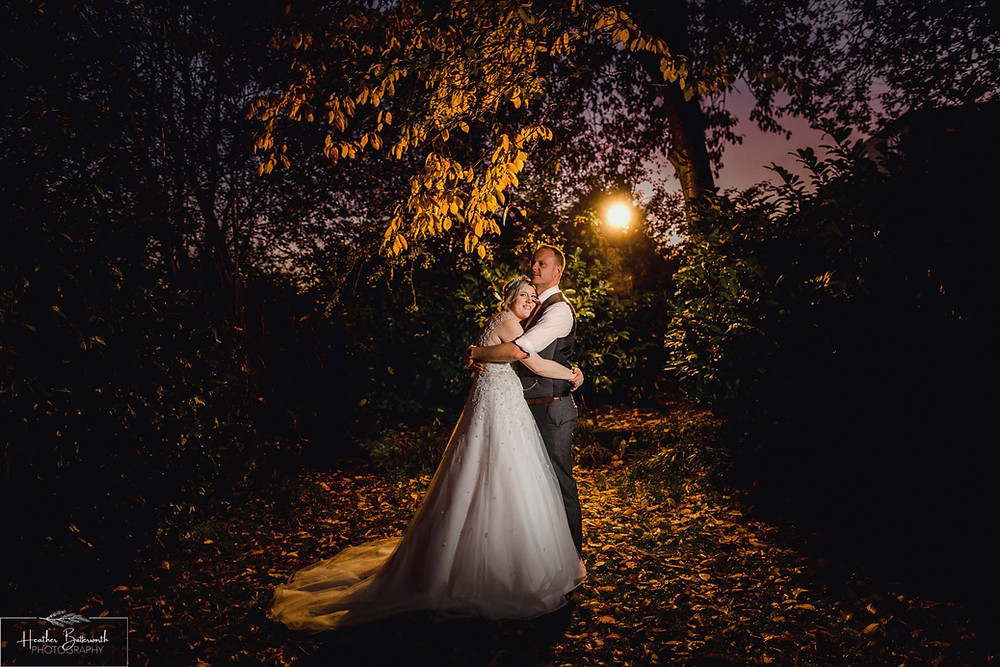 couple portrait leeds Yorkshire wedding photographer alwoodley community hall flash photography