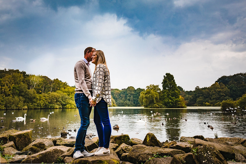 golden acre park Leeds wedding photographer engagement shoot lake