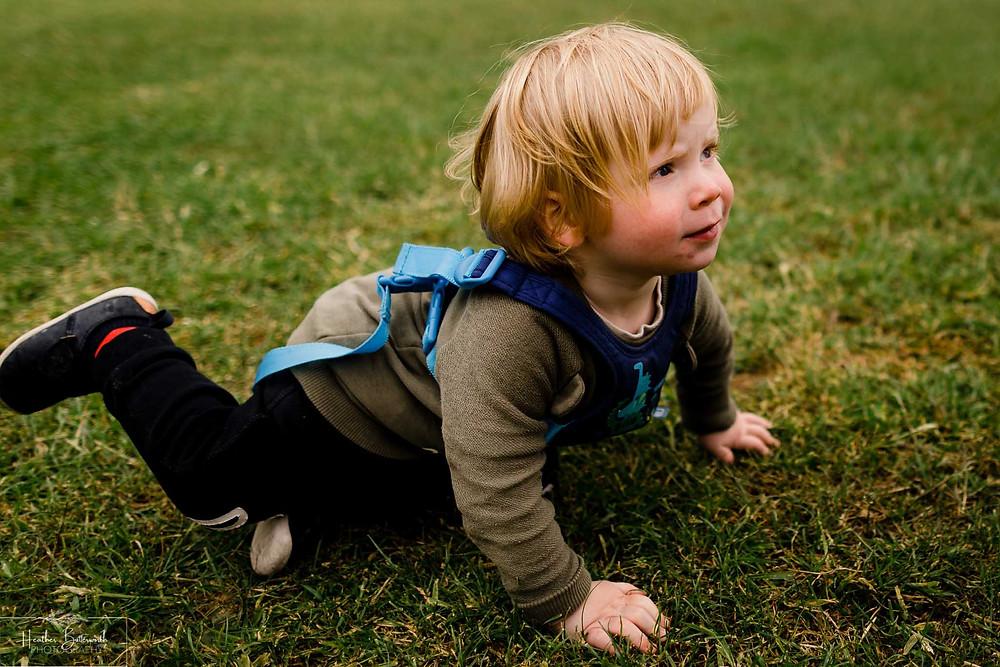 toddler lying on grass in roundhay park after restrictions were slightly lifted after the COVID-19 lockdown in Leeds , Yorkshire in June 2020