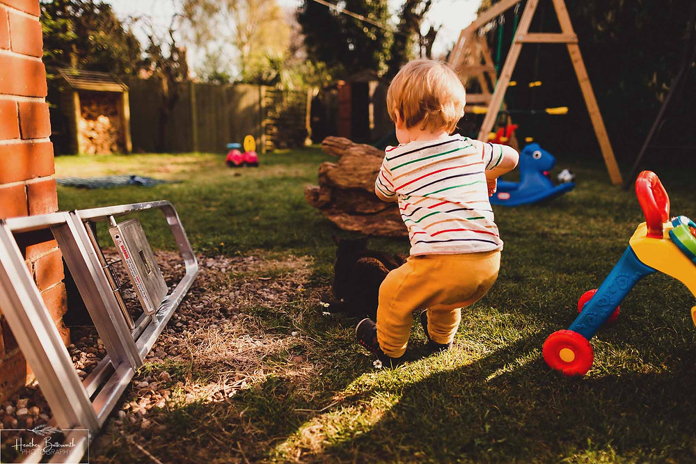 Barney playing and falling in his family garden in Leeds, Yorkshire. Image by Heather Butterworth Photography