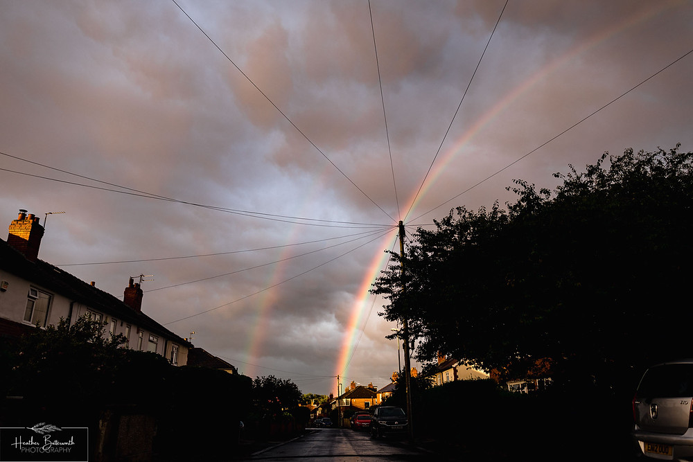 rainbow at sunset in leeds yorkshire UK in july 2020