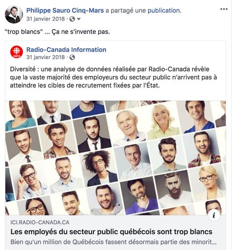 """Le secteur public québécois """"trop blanc"""" - Radio-Canada"""