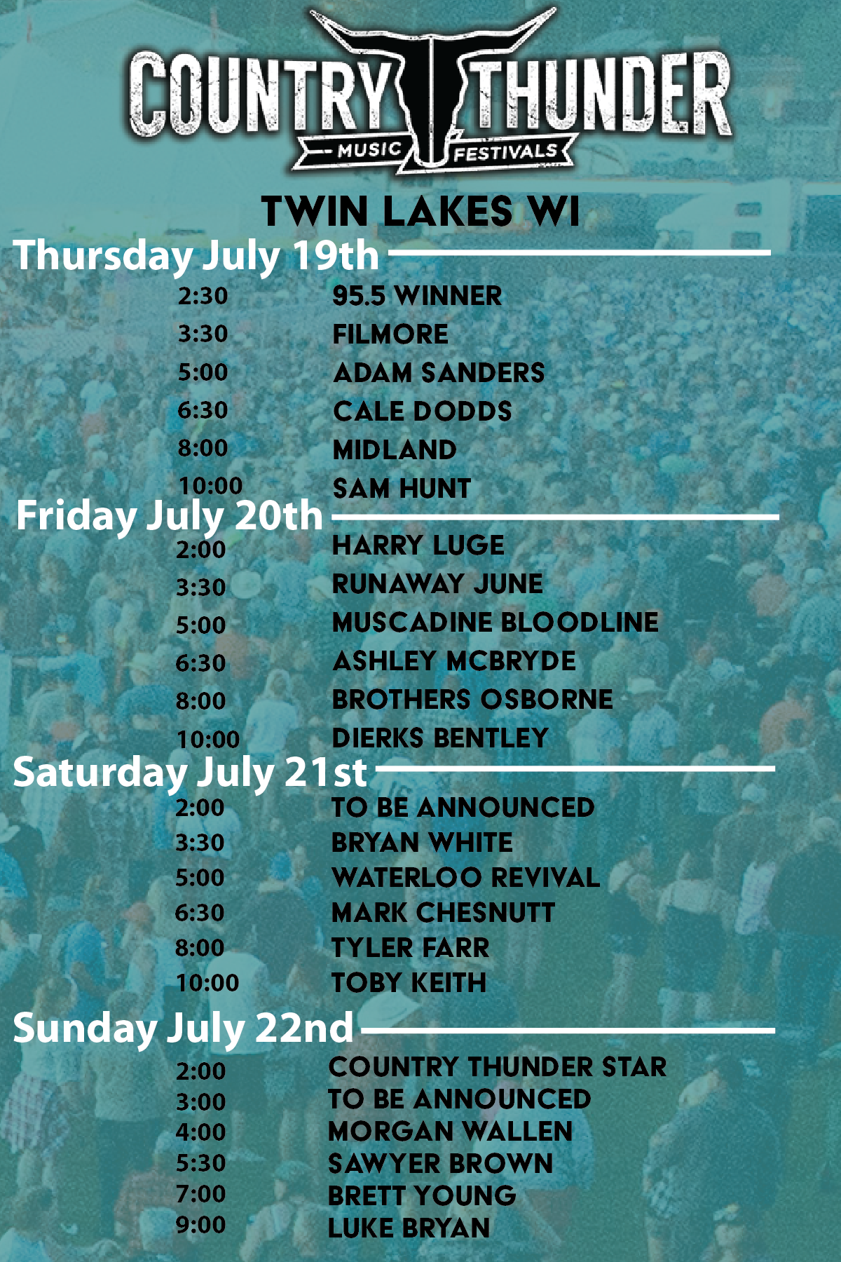 Country Thunder Wisconsin Twin Lakes Wi Past Lineups