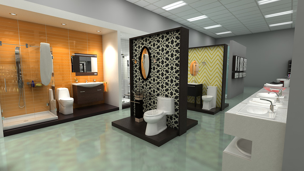 Sink, shower and toilet display fixtures featuring lifestyle graphics