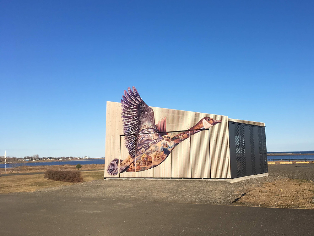 Giant Canada Goose shaped mural made with custom powder-coated graphics on aluminum