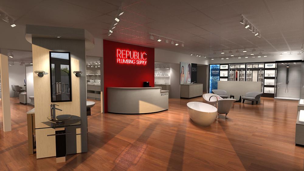 Reception area with branding, Republic Plumbing Supply Showroom