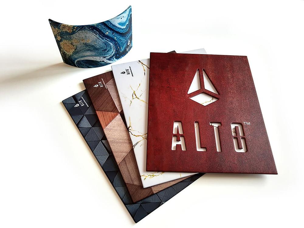 alto aluminum powder-coated graphics in marble, tile, wood grain, Corten steel