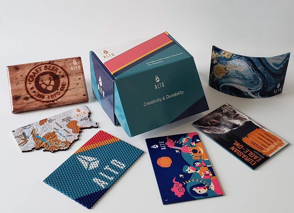 ALTO™ digital powder-coated graphics sample box