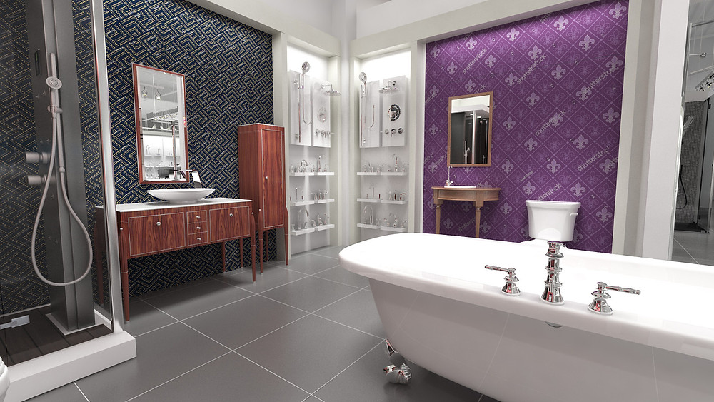 Bathroom mini-suite with bathtub, sink, vanity and shower stall