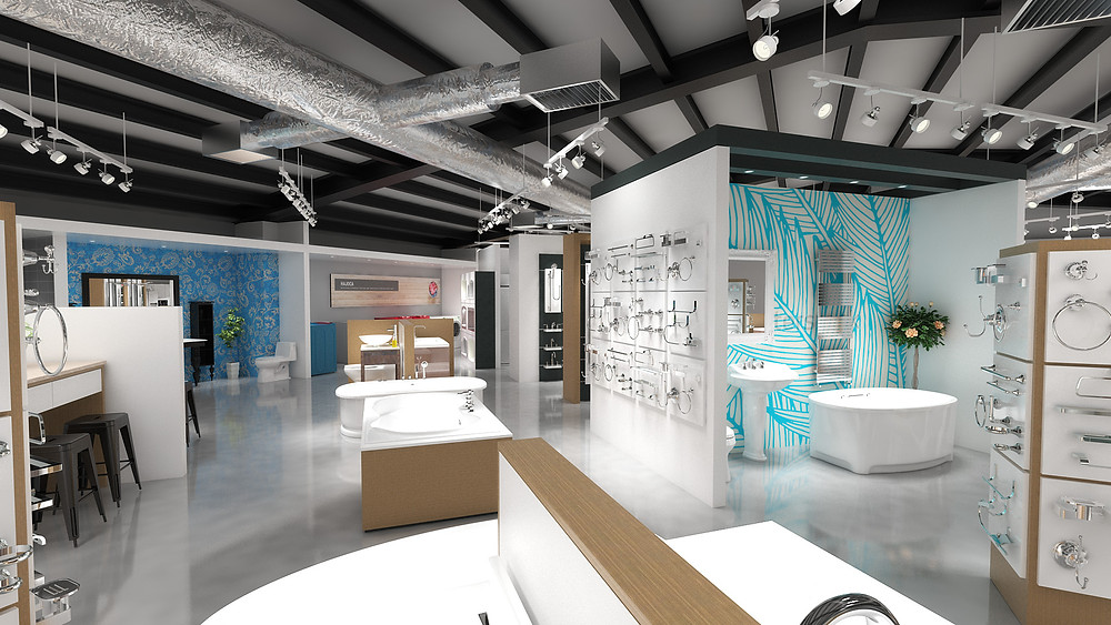 Modern decorative plumbing showroom with vignettes and hardware display towers