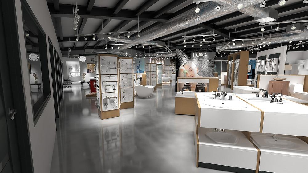 Visual merchandising techniques in a decorative plumbing showroom.