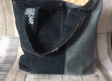 Upcycled Jeans Knitting Bag