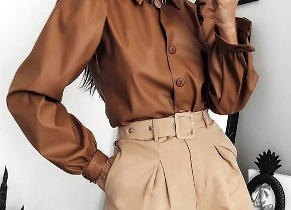 Faux Leather Blouse