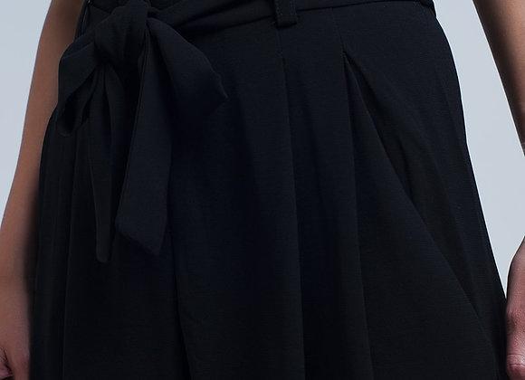 High Waist Black Pants With Bow