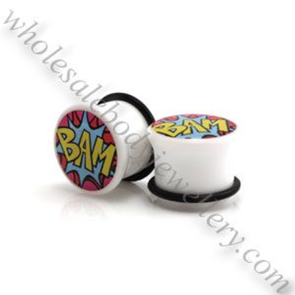 2x Acrylic White BAM Picture Plugs