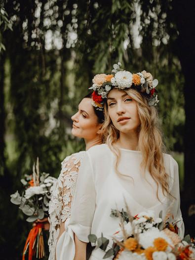 Same Sex Wedding, Lgbt Hochzeit, Boho Braut, Boho Hochzeit, gleichgeschlechtliche Ehe, Boho Brautstrauß, Blumenkranz Hochzeit,  Ivory Rose Photography