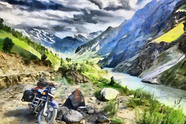 Painting of a motorcycle on a road in Nepal.