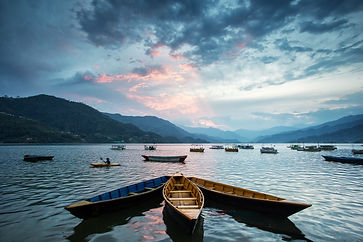 Boat on a lake in Pokhara, Nepal.