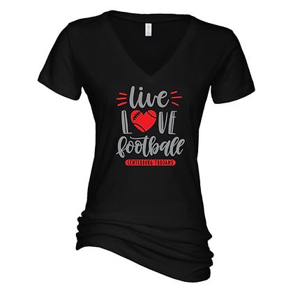 Centerburg Football Glitter Design Ladies V-Neck