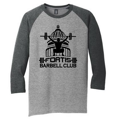 Fortis Weightlifting Barbell Club Logo (Black) Unisex 3/4 Sleeve T-Shirt