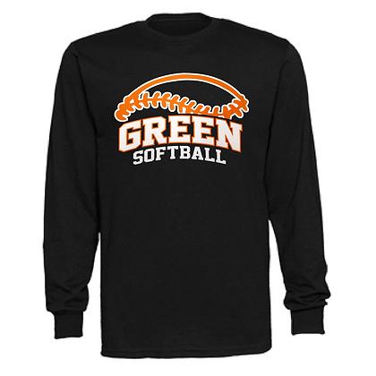 Green Bulldogs Softball Logo #50 Unisex Long Sleeve T-Shirt