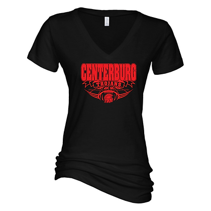 Centerburg Football Logo 2 Ladies V-Neck