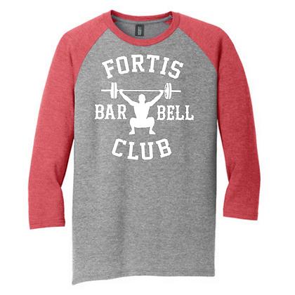 Fortis Weightlifting Barbell Club Logo B (Black) Unisex 3/4 Sleeve Shirt