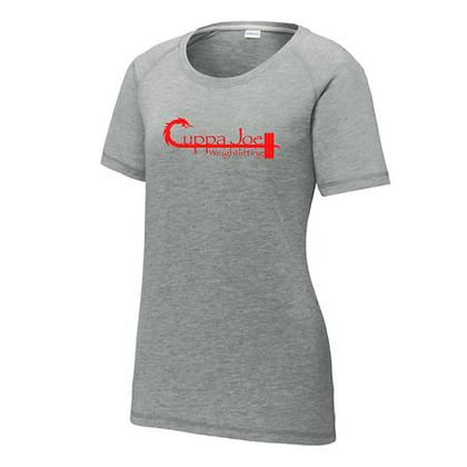 Cuppa Joe Ladies Triblend T-Shirt (Red Logo)
