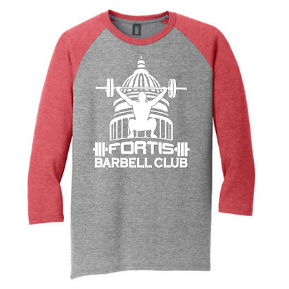 Fortis Weightlifting Barbell Club Logo (White) Unisex 3/4 Sleeve T-Shirt