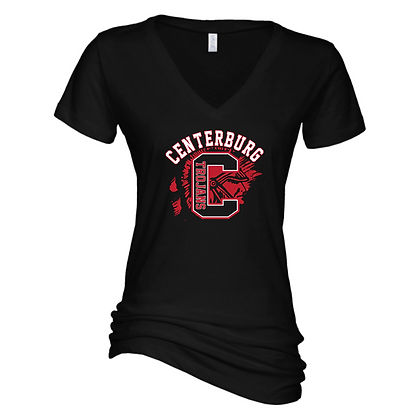 Centerburg Football Logo 1 Ladies V-Neck